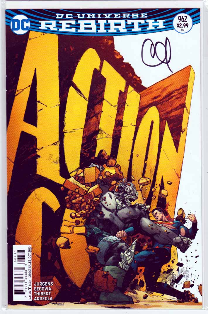 ACTION COMICS #961 (2016) Regular Clay Mann Cover signed by Clay Mann W/COA, Pencils by Stephen Segovia  and Art Thibert. Dan Jurgens Story