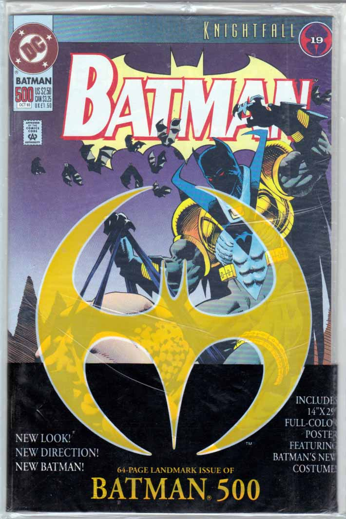 Batman #500 PolyBagged Newsstand Edition. Kelley Jones Cover Art Knightfall Pt.19 Newsstand Edition. Includes 14x29 Full Color Poster featuring Batman's new costume! Azrael as new Batman. Doug Moench Story. Jim Aparo Pencils.