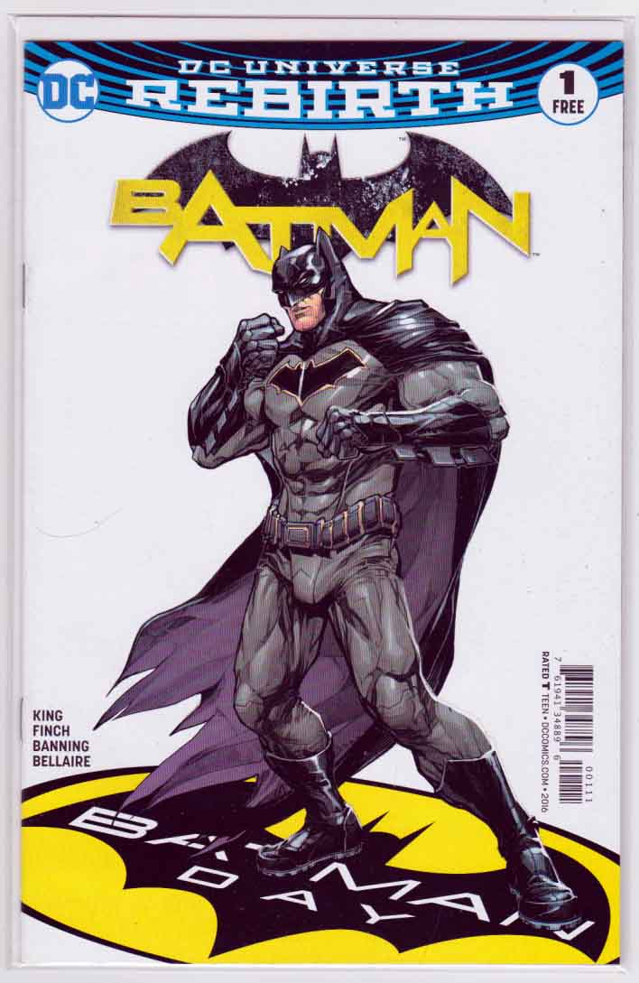 Batman #1 (2016) Batman Day 2016 Direct Market Edition Cover. David (Dave) Finch Pencils. Tom King Story. 1st Appearance of Gotham and Gotham Girl.