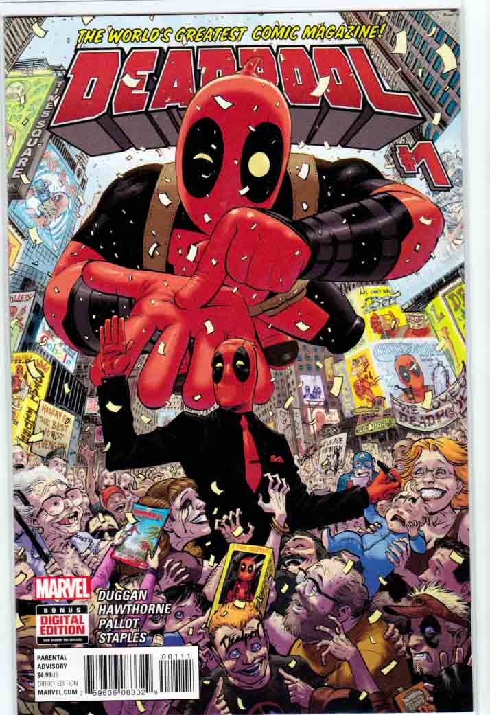 Deadpool #1 2016 Regular Tony Moore Cover  He's annoying. He's dangerous. He smells terrible. But the public love him. That's right-the Merc with the Mouth may make money for missions of murky morality... but he's become the most popular hero in the world for it. Eat that, Spidey! The world belongs to... DEADPOOL. The fan favorite team of Gerry Duggan and Mike Hawthorne return to bring Deadpool in to his most successful adventures yet!