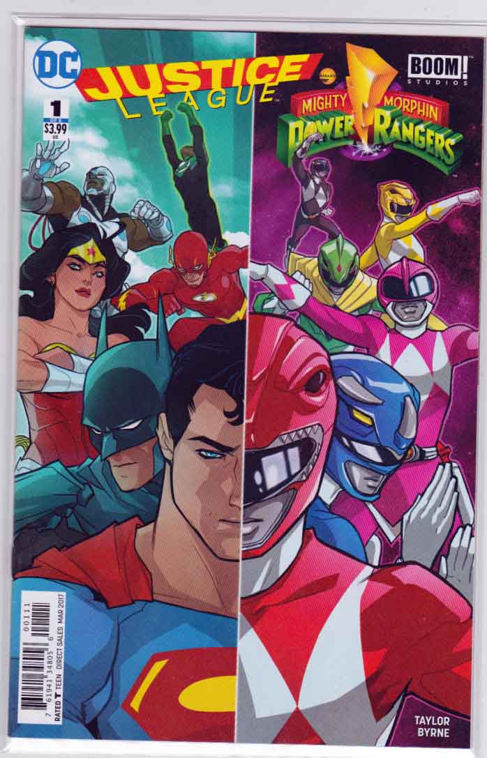 Justice League Power Rangers #1 (2017) Karl Kerschl Cover.  Tom Taylor Story. Stephen Byrne Pencils.