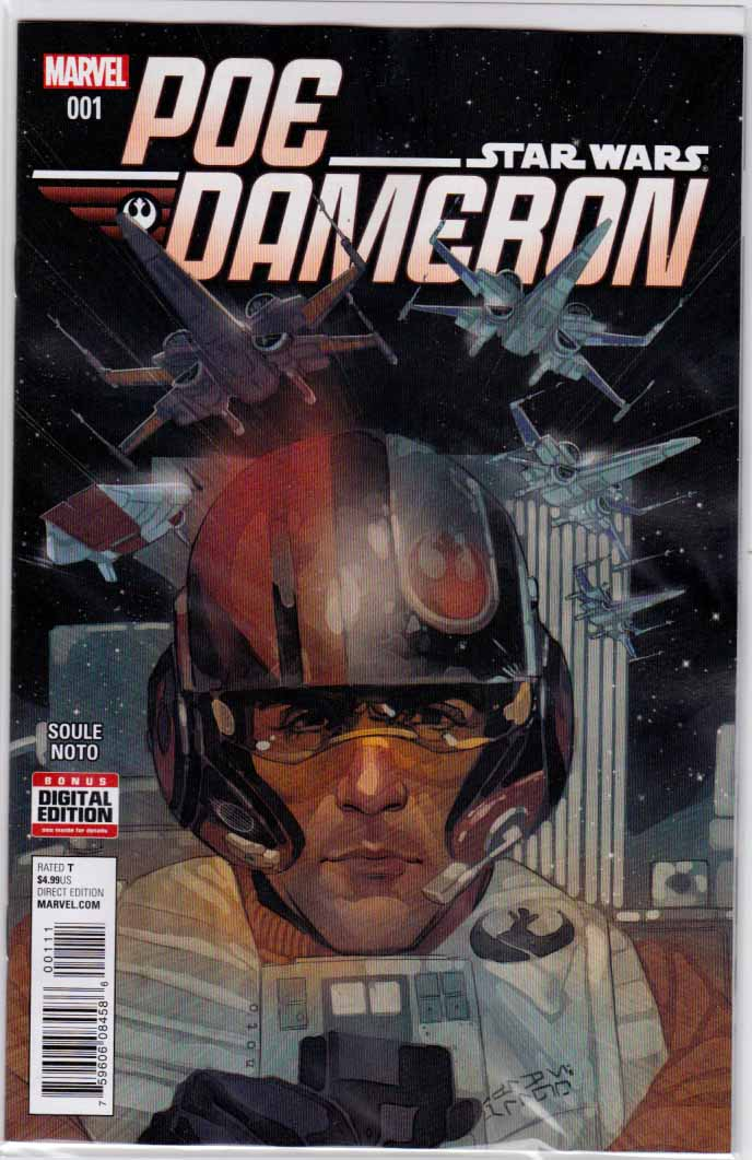 Star Wars Poe Dameron #1 Regular Phil Noto Cover. 1st Appearance of General Leia Organa in Comic Books. Charles Soule Story. Pencils by Phil Noto. 1st Appearance of Poe Dameron.