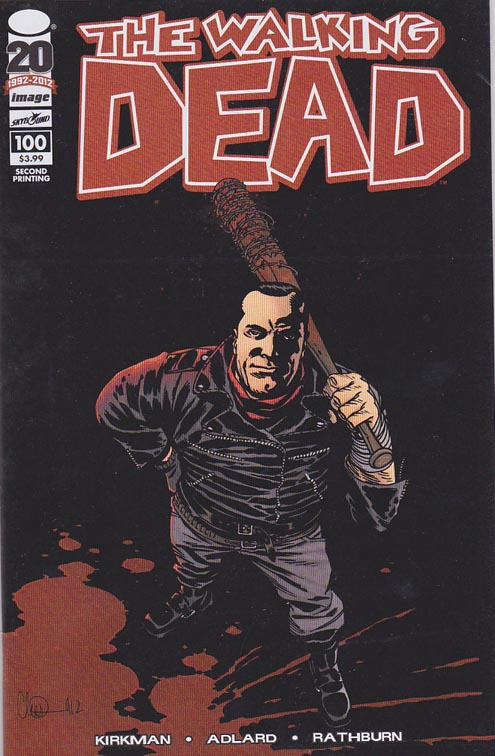 Walking Dead #100 2nd printing. This extra-sized chapter contains one of the darkest moments in Rick Grimes' life, and one of the most violent and brutal things to happen within the pages of this series. Story by Robert Kirkman. Pencils by Charles (Charlie) Adlard.