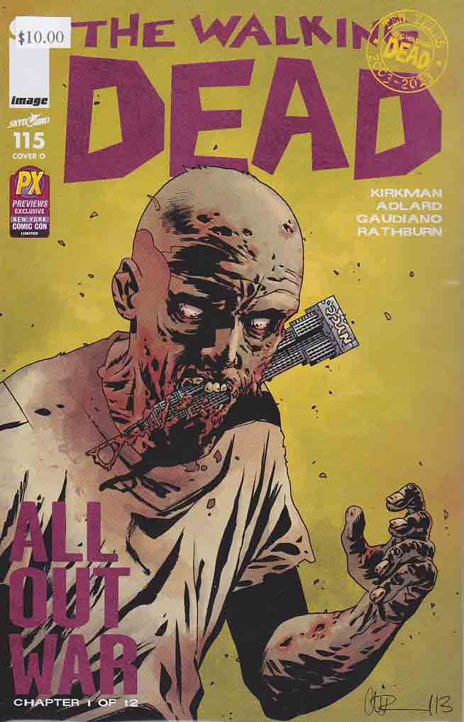 Walking Dead #115 New York Comic Con 2013 Exclusive. ALL-OUT WAR BEGINS! The biggest storyline in WALKING DEAD history - just in time to celebrate the 10th anniversary of the series! It's Rick versus Negan with a little help from everyone else! Charlie Adlard Standard Cover