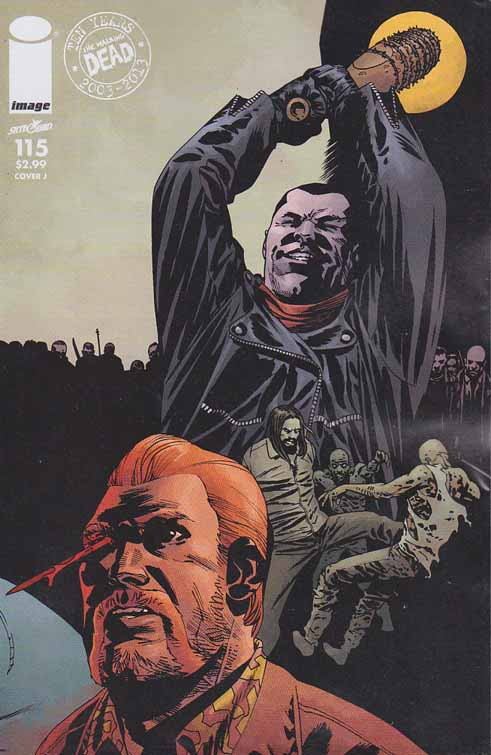 Walking Dead #115 J Cover. ALL-OUT WAR BEGINS! The biggest storyline in WALKING DEAD history - just in time to celebrate the 10th anniversary of the series! It's Rick versus Negan with a little help from everyone else! Charlie Adlard Standard Cover