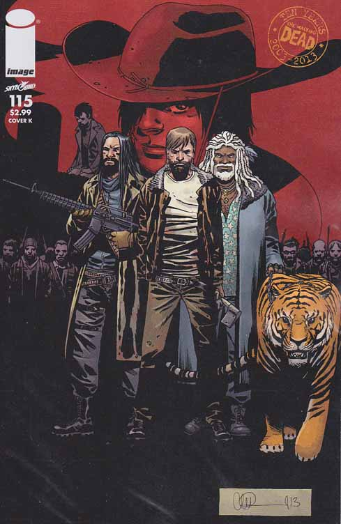 Walking Dead #115 K Cover. ALL-OUT WAR BEGINS! The biggest storyline in WALKING DEAD history - just in time to celebrate the 10th anniversary of the series! It's Rick versus Negan with a little help from everyone else! Charlie Adlard Standard Cover