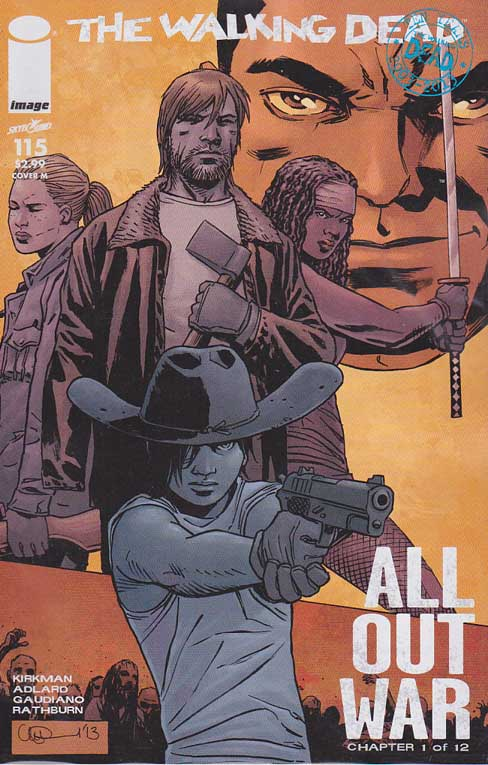 Walking Dead #115 M Midnight Release Variant Cover. ALL-OUT WAR BEGINS! The biggest storyline in WALKING DEAD history - just in time to celebrate the 10th anniversary of the series! It's Rick versus Negan with a little help from everyone else! Charlie Adlard Standard Cover