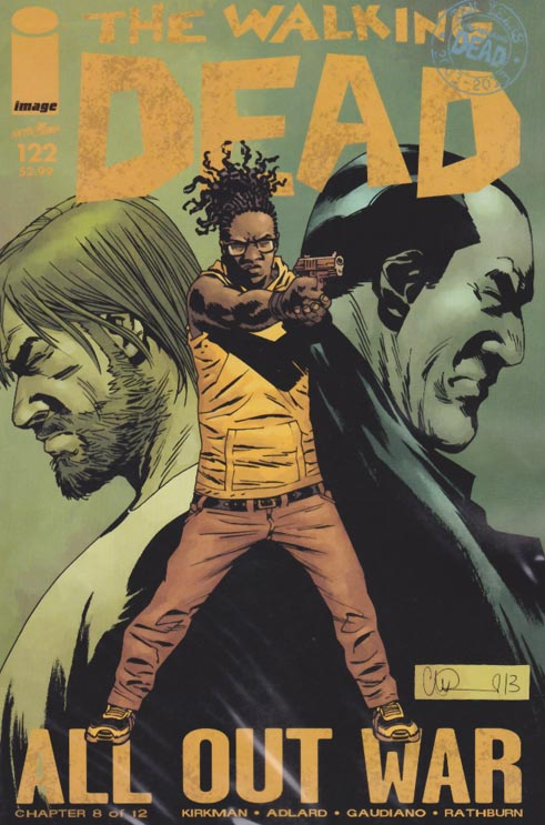 Walking Dead #122. Issue 122 is the one-hundred and twenty-second issue of Image Comics' The Walking Dead, part two of Volume 21: All Out War - Part Two, and part eight of the All Out War story arc.