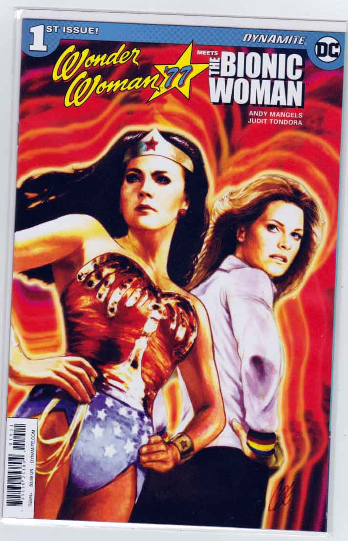 Wonder Woman 77 Meets The Bionic Woman #1 (2016) Cat Staggs Cover.  Andy Mangels Story. Judit Tondora Pencils.